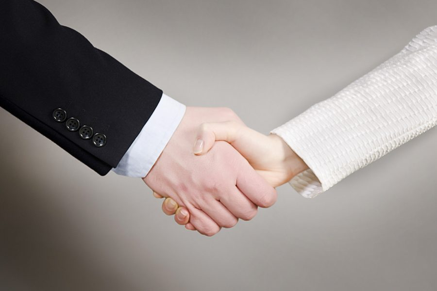 Handshaking business man and woman